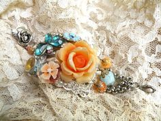 upcycle jewelry bracelet peach rose collage by lilyofthevally