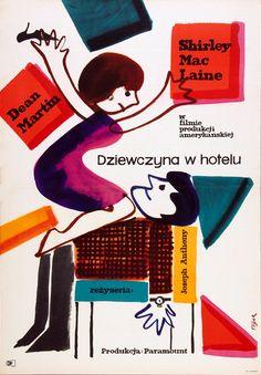 Vintage movie poster 1963 by Jerzy Flisak: Dziewczyna w hotelu (All in a Night's Work, US Paramount 1960) Dean Martin & Shirley MacLaine