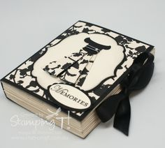 """Book Box. Faux Book. With video tutorial. (I call it a chocolate book 'cuz I fill mine with choc treats. It's a big hit! My measurements: 1. Use 12x12 cardstock. Cut to 8"""" tall (keep 12"""" wide). Score @ 5 ½"""" and 6 ½"""" to create book spine. 2. Cut 2 pcs of white cardstock to 7 1/2""""x 5"""" (this will form the left & right side of the page). Score every ½"""" from top to bottom. 3. Cut 2 pcs of white cardstock to 5""""x5"""" (this will form the top & bottom of the page). Score every ½"""" and fold accordion…"""