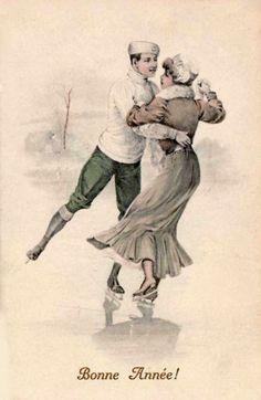 Vintage Postcards, Vintage Images, Vintage Art, Skating Pictures, Nostalgia Art, Vintage Ski Posters, Winter Images, Christmas Illustration, Vintage Christmas Cards