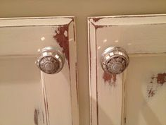 Annie Sloan Chalk Paint bathroom cabinets redo