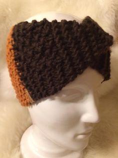 Stirnband / Bandeau mit Twist made by Strickgräfin, handgestrickt, Brown and Ocker coloured Beanie, Brown, Color, Fashion, Hoods, Scarf Knit, Head Bands, Scarves, Colour