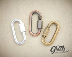 Screw Lock Carabiner/ Hook Keychain Leathercraft Accessory/ Heavy Carabiner/ Clip-Key Hook / A Jewelry Supplies, Craft Supplies, Stacked Necklaces, Buckle Bags, Key Hooks, Antique Copper, Leather Craft, Beautiful Necklaces, Metal Working