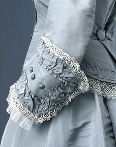 ANTIQUE VESTURES ✧ old world dress details in french blue