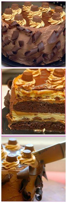 11.5 Pound Cake!!!! THE QUADRUPLE LAYER PEANUT BUTTER CHOCOLATE CARAMEL CHEESECAKE!!!!
