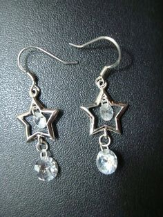 Sterling silver star earrings with nice clear crystals that shine in any light. Buy now $9.99 Click on pic for details.