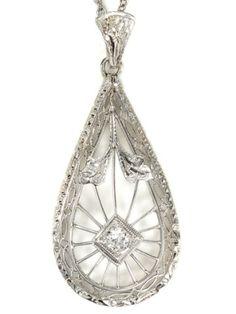 Art Deco Diamond Teardrop Pendant, circa 1930 by cecile