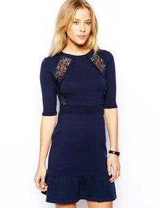 ASOS Knitted Dress With Lace Inserts & Pep Hem