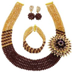 Womens Girls Necklace Bracelet 5 Rows Gold AB and Colorful Crystal Beads African Jewelry Sets (Gold AB Brown) * You can find more details by visiting the image link. (As an Amazon Associate I earn from qualifying purchases)