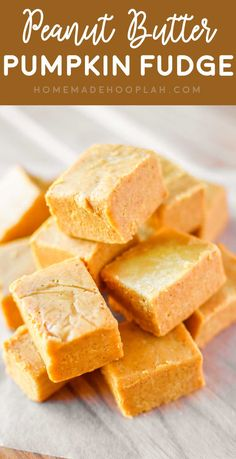 Peanut Butter Pumpkin Fudge! Creamy peanut butter fudge laced with white chocolate and festive pumpkin that you can whip together in less than 10 minutes! #pumpkinrecipes #fudge | HomemadeHooplah.com