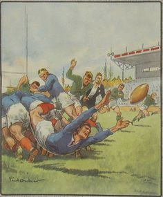 Rugby : a (small) tribute to the pioneers - Rugby History - Rugby Memorabilia Rugby Images, Rugby Poster, France Rugby, Rugby Sport, Australian Football, Rugby League, World Of Sports, Sports Art, Illustrations