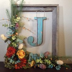 Flower Garden Rustic Barnwood Floral Monogram Wreath-Autumn Harvest