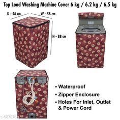 Appliance Covers Stylish Washing Machine Cover For Fully Automatic Top Load  6 kg , 6.2 kg , & 6.5 kg Material: PVC Pattern: Printed Pack: Pack of 1 Product Length: 24 cm Product Breadth: 30 cm Product Height: 3 cm Country of Origin: India Sizes Available: Free Size   Catalog Rating: ★4.3 (460)  Catalog Name: Latest Home Appliance Covers CatalogID_1097033 C131-SC1624 Code: 983-6872768-069