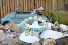 Handmade beaded Bracelet with Turquoise, Blue Aventurine, Crystals rondelles & Rhinestone Bow Charm