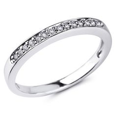 14K White Gold Round-cut Diamond Ladies Women Wedding Band Ring (0.14 CTW., G-H Color, SI1-2 Clarity) The World Jewelry Center. $305.00