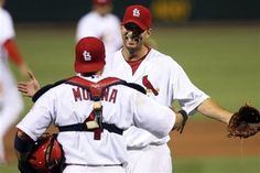 Starting Pitcher Adam Wainwright Celebrates with Molina after pitching a shutout game against the Padres   5-22-12