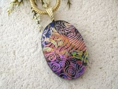 Pink Purple Gold Necklace, Dichroic Jewelry, Oval Necklace, Dichroic  Pendant, Fused Glass Jewelry, Dichroic Jewelry,Gold Chain 072115p106 by ccvalenzo on Etsy