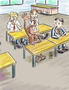 Solicitaron una ilustración para un libro para niños en técnica de acuarela,sobre las aventuras de un mono del zoologico de londres que se escapa a diario para conocer distintos sitios de la ciudad, en esta ocasión esta compartiendo clase en un colegiode la ciudad.
