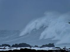 Saturday February 16, 2013 — Point Arena, CA (Current Weather Conditions)  High surf buffets the beach at Pt Arena.