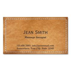 Classy Stitched Leather Massage Therapy Business Card Template