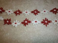Red and white daisy applique. Lace Trim, Red And White, Daisy, Applique, Tattoos, Fabric, Costume, Inspiration, Vintage
