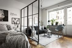 80 Stylish Apartment Studio Decor and Furniture Ideas - wholiving Tiny Studio Apartments, Studio Apartment Layout, Studio Apartment Divider, Studio Layout, Apartment Therapy, Apartment Bedroom Decor, Studio Apartment Decorating, Apartment Ideas, Cozy Apartment
