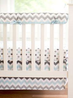 Chevron Baby in Aqua Crib Rail Cover