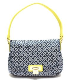 Tommy Hilfiger Signature Shoulder Bag with Saffiano Leather Trim in Navy Blue / Neon Yellow