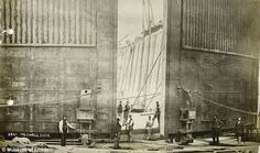 Long gone: The towering gates of Millwall Dock, circa which remained active until the and is today the site of residential developments near Canary Wharf Victorian Life, Victorian London, Vintage London, Old London, East London, London History, British History, 19th Century London, Millwall