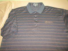 Men's DESCENTE   SS  Golf  Shirt Sz XL - Gray Stripe - SHADOW CREEK GC Las Vegas #Descente #PoloShirt