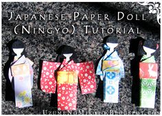 Uzume's Crafty Goodness: How to Make a Japanese Paper Doll - Think of the gorgeous 'Gelli' dresses we could make with Gelli prints!