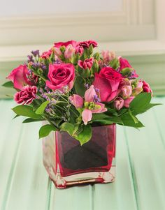 Square small pink vase with Roses