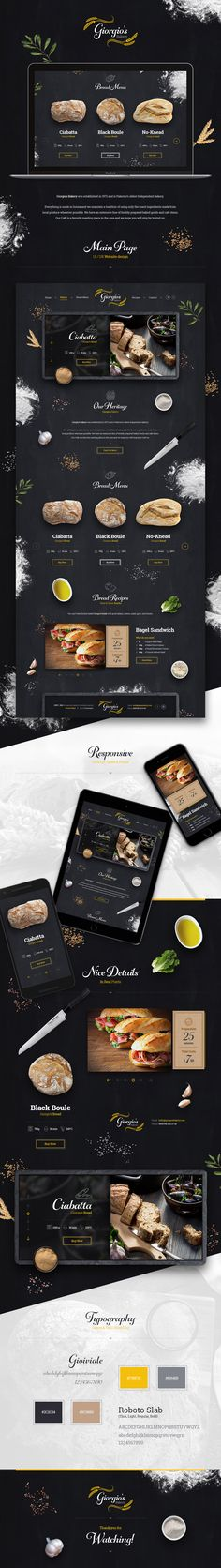 Giorgiosbakery behance Cohesive color theme that enhances the main focus. The site is eye catching and easy to look at without being loaded with photos or decoration