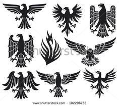 heraldic eagle set (eagle silhouettes, heraldic design elements, eagles collection)