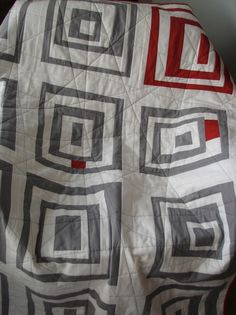 Modern quilt - Gray and red wonky log cabins.