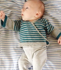 Free Knitting Pattern for Easy Striped Baby Cardigan - Easy wrap cardigan for newborns in stockinette stripes. Most Ravelrers rated this easy or very easy. Designed by schneckenstrick Pictured project by blowfish15