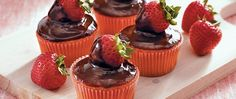 Looking for an elegant dessert made using Betty Crocker™ SuperMoist™ cake mix? Then serve these delicious cupcakes topped with chocolate covered strawberry.