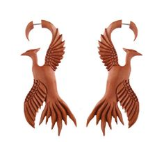 Pair-Fake-Faux-Hand-Carved-PHOENIX-BIRD-GAUGES-EARRINGS-Wood-Spiral-Sun-New-Life
