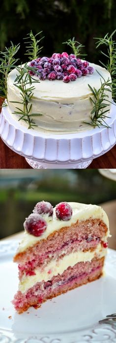 White Chocolate Cranberry Cake Recipe - A decadent cranberry layer cake perfect for the Holidays. Delicious combination of cranberries tartness and the sweetness of the white chocolate! Just Desserts, Delicious Desserts, Yummy Food, Baking Recipes, Cake Recipes, Dessert Recipes, Holiday Baking, Christmas Baking, Winter Torte