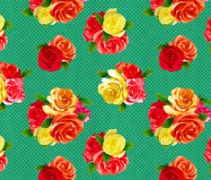 50's Floral fabric by dinorahdesign on Spoonflower - custom fabr  Would peeps go for this much green in a vintage style frock??