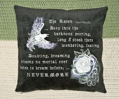 Baroque Raven & Rose Pillow Cover by SheBellaBirk on Etsy