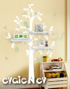 Nursery Kids Removable Wall Vinyl Decal   Floating Shelves Tree With Birds  And Squirrels   Tree Part 39