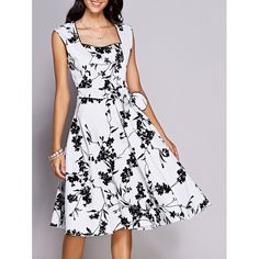 Retro Floral Sweetheart Neck Bowknot Embellished Women's Dress - WHITE AND BLACK XL