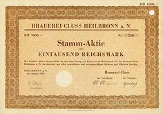 HWPH AG - Historische Wertpapiere - Brauerei Cluss Heilbronn a. N., August 1929, Stamm-Aktie über 1.000 RM, #250