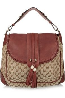 Gucci | Monogram canvas and leather shoulder bag | NET-A-PORTER.COM - StyleSays