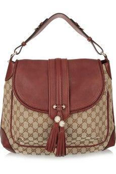 Gucci|Monogram canvas and leather shoulder bag|NET-A-PORTER.COM - StyleSays