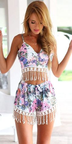 Sexy Tassels Floral Print Tops + Shorts Two-piece Set