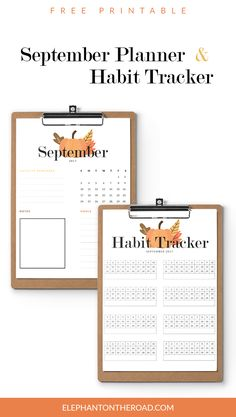 September Goals Free Printables. Planner and habit tracker