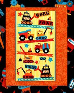 Easy Fabric Panel Quilt Kit Work Zone Construction Trucks Baby Quilt | auntiechrisquiltfabric - Craft Supplies on ArtFir