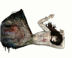 Freelance illustrator and printmaker Meggie Wood is from Bristol, England. These bloodstained images of translucent young lovers are created with just. Art And Illustration, Digital Ink, Pen And Watercolor, Freelance Illustrator, Surreal Art, Wood Art, Art Museum, Illustrators, Contemporary Art
